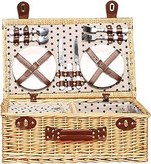 Deluxe retro picknickkorg med 4 lock och dubbel lock, tillbehör och inbyggt kylskåp - för födelsedag, årsdag och tack