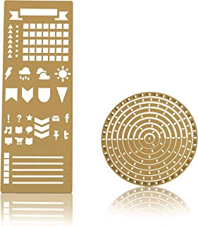 Stainless Steel Ruler Circle Stencil I DIY Letter Numbers Habit Tracker Template for Bullet Journal I Adult Kids Calendar Notebook Planner Agenda Scrapbook Album Craft Supplies - Gold