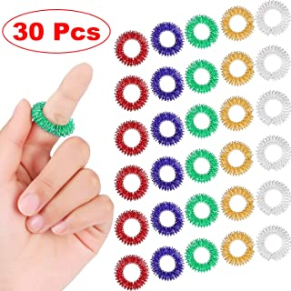 30 Pieces Spiky Sensory Finger Rings, Spiky Finger Ring/Acupressure Ring Set for Teens, Adults, Silent Stress Reducer and Massager (Multicolor)