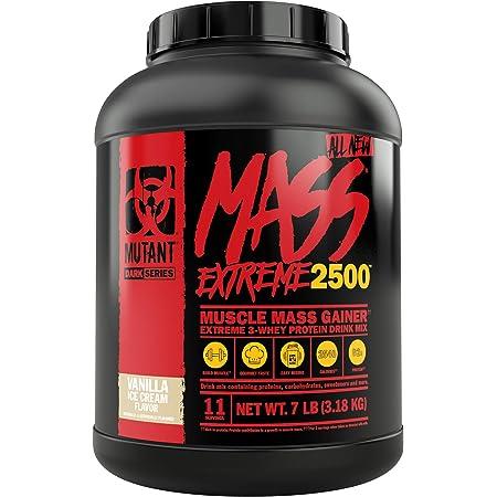 Mutant Mass XXXtreme Prise de masse Poudre de protéine de lactosérum, Gain de volume et force musculaire avec calories propres haute densité - Vanille
