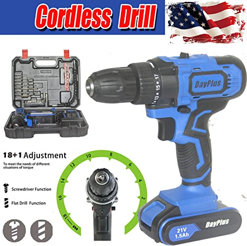 Cordless Drill Driver 21V 45Nm Compact Electric Drill Set with 1.5AH Battery, 18+1 Torque Setting, 2-Speed Trigger, LED Light, 3/8 Inch Chuck, Magnet, Tail Hammer Fast Charger/Carrying Case/29 Bits