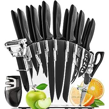 HomeHero Ensemble de Couteaux de Cuisine avec Bloc et Aiguiseur - Set Couteau Cuisine Professionnel en Acier Inoxydable - 6 Couteaux à Steak, Chef, Pain, Pizza, Fromage et Plus - Éplucheur Offert