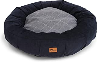 Superior Pet Goods Harley Bed Corduroy Check Dog Bed, Grey/Navy, Large