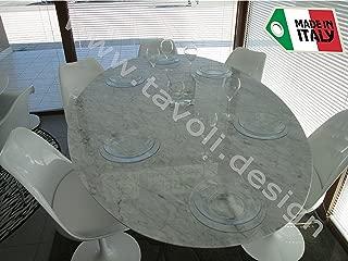 Tavoli.Design Round Tulip Table (Saarinen) 50 inch - Carrara Marble - Made in Italy