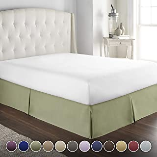 Hotel Luxury Bed Skirt/Dust Ruffle 1800 Platinum Collection-14 inch Tailored Drop, Wrinkle & Fade Resistant, Linens (King, Sage)