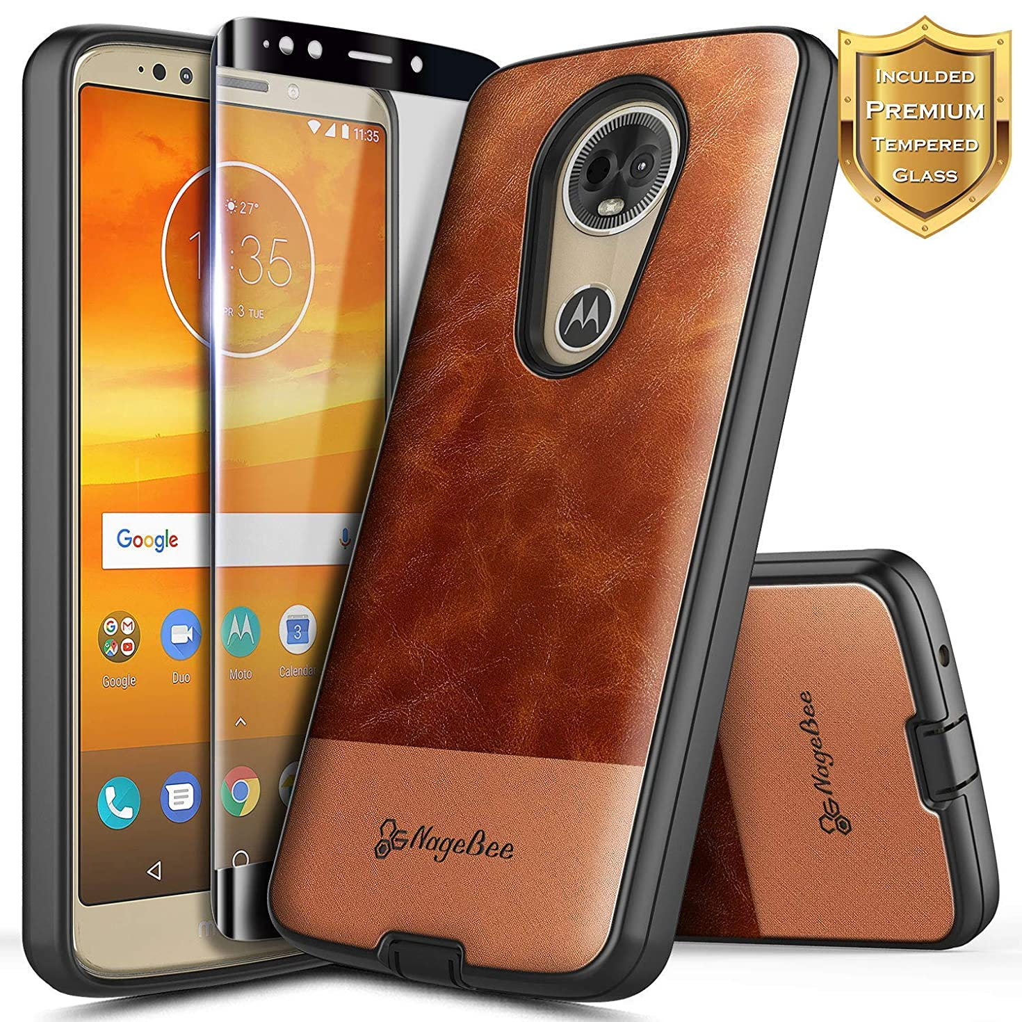 Moto E5 Plus Case, Moto E5 Supra Case w/[Full Coverage Tempered Glass Screen Protector], NageBee Premium [Cowhide Leather] Shockproof Hybrid Rugged Case for Motorola Moto E Plus (5th Gen) -Brown