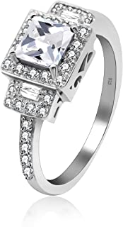 Uloveido 3g 925 Sterling Silver Square Cushion Cut Blue Cubic Zirconia Hollow Cross Promise Wedding Rings for Women - Girls Fashion Simulated Sapphire Birthstone Rings JZ102