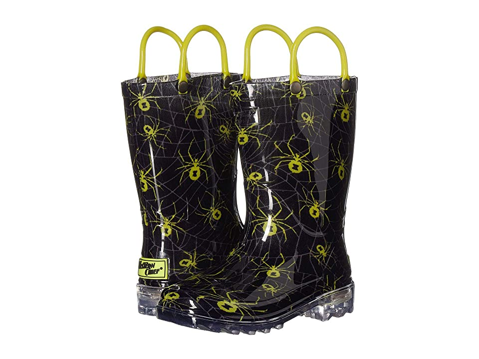 Western Chief Kids Lighted PVC Spider Crawl Rain Boot (Toddler/Little Kid) (Grey) Boys Shoes