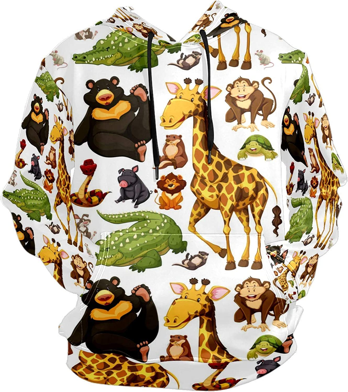 Giraffe Crocodile Black Bear Wild Animals Mens Sport Hoodie Big and Tall Hoodies for Men Women Oversized Hooded Sweatshirt Hip Hop Pullover Hoodie Midweight Hood for Boys Girls