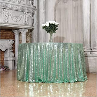 Poise3EHome 70-Inch Round Sequin Tablecloth for Party Cake Dessert Table Exhibition Events, Mint Green