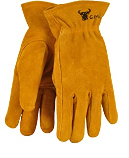G & F 5013M JustForKids Kids Genuine Leather Work Gloves, Kids Garden Gloves, 4-6 Years Old