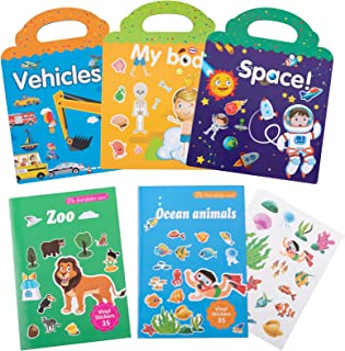 5 Sets Reusable Sticker Books for Kids- My Body, Zoo, Vehicles, Space, Ocean Animals Cute Static & Adhesive Stickers Book ...