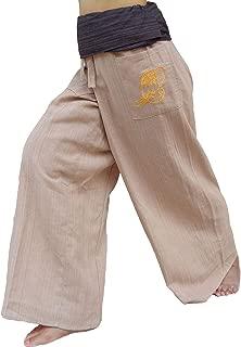 PUFA : 2 Tone Thai Fisherman Pants Yoga Trousers,  a Waist up to 70 & Slim Shape (Brown/Ivory,  Standard)