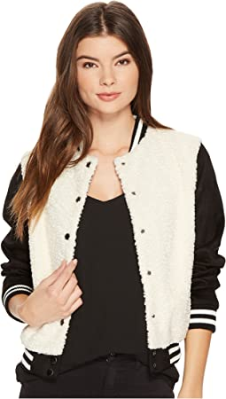 Jack by BB Dakota - Karah Contrast Sherpa and Faux Suede Varsity Jacket