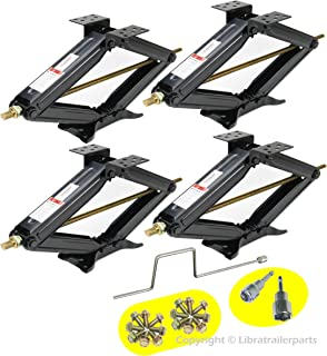 LIBRA Set of 4 5000lbs RV Trailer Stabilizer Leveling Scissor Jacks w/Handle & Dual Power Drill sockets & mounting Hardware