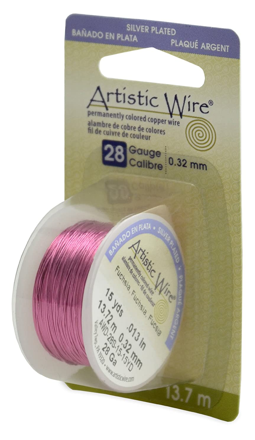 Artistic Wire Beadalon, 28 Gauge, Silver Plated Fuchsia Color, 15 yd (13.7 m) Craft Wire