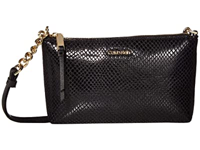 Calvin Klein Hayden Python Crossbody (Black/Snake) Cross Body Handbags