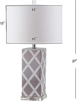 Safavieh Keira Ceramic Table Lamp ( Set of 2 ), E27 13 W in Grey Lattice