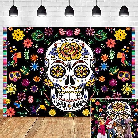 8x8FT Vinyl Photography Backdrop,Skull,Mexican Style Arrangement Photoshoot Props Photo Background Studio Prop