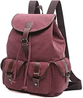 BAOSHA LP-13 Mädchen Damen Leinwand Rucksäcke Schulrucksack Laptop Schultasche Outdoor Sports Freizeit Casual Daypacks Rot