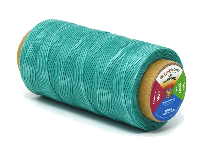 Mandala Crafts 150D 210D 0.8mm 1mm Leather Sewing Stitching Flat Waxed Thread String Cord (210D 1mm 180M, Aquamarine)