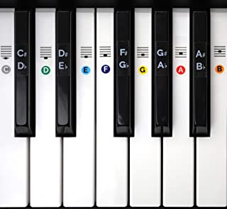 Color Piano Keyboard Stickers- Removable, Transparent,...