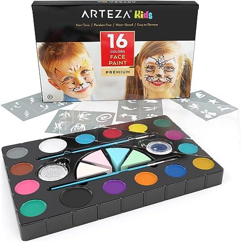 Arteza Kids Pintura facial para niños   Kit de 16 colores de maquillaje para fiestas infantiles   Incluye pinceles, esponjas y polvos de purpurina product image