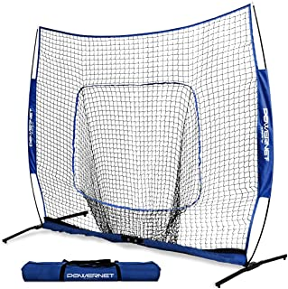 PowerNet 8x8 XLP PRO Net with One Piece Frame | Huge Baseball Softball Hitting Pitching Area | Great for Teams | Batting Fielding Portable Backstop | Non-Tip Weighted Base | 8 x 8 (64SqFt) | EZ Setup