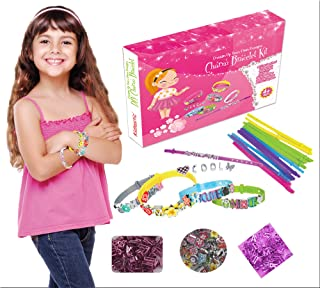 Kidtastic Bracelet Kit Set of 12 – Jewelry Making Set Arts & Crafts for Girls – No Mess, No Glue & No Tools – Best Christmas / Birthday Gift – Friendship Bracelets Maker with Letters, Flowers & Charms