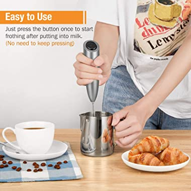 SIMPLETASTE Milk Frother Handheld Battery Operated Electric Foam Maker, Drink Mixer with Stainless Steel Whisk and Stand for