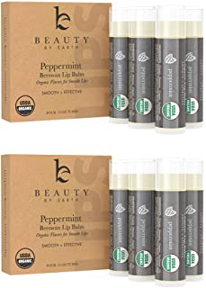 Organic Lip Balm Peppermint - 8 Pack of Natural Lip Balm, Lip Moisturizer, Lip Treatment for Dry Lips, Lip Care Gifts for ...