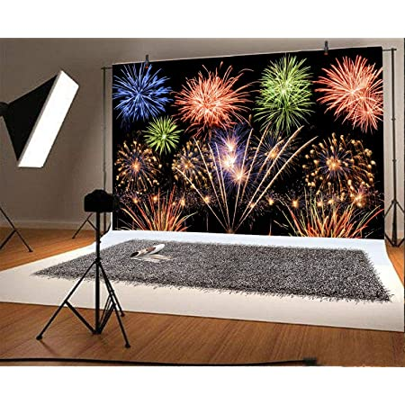 YongFoto 10x8ft Happy New Year 2021 Backdrop Colorful Fireworks Halos New Year Party Background for Photography Christmas Decor Kids Adult Xmas Photo Wallpaper
