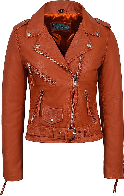 CLASSIC BRANDO Ladies orange Biker Style Motorcycle Cruiser Hide Leather Jacket