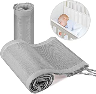 Baby Crib Bumper,Classic Breathable Crib Liner,2 Pieces/Set (Grey)