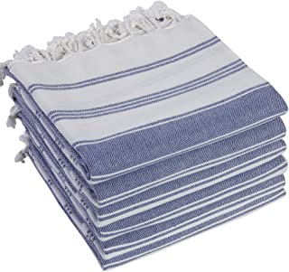 (6 Navy) - (Set of 6) 100% Turkish Cotton Bath Beach Hammam Towel Peshtemal Throw Foua Blanket Set (Navy)