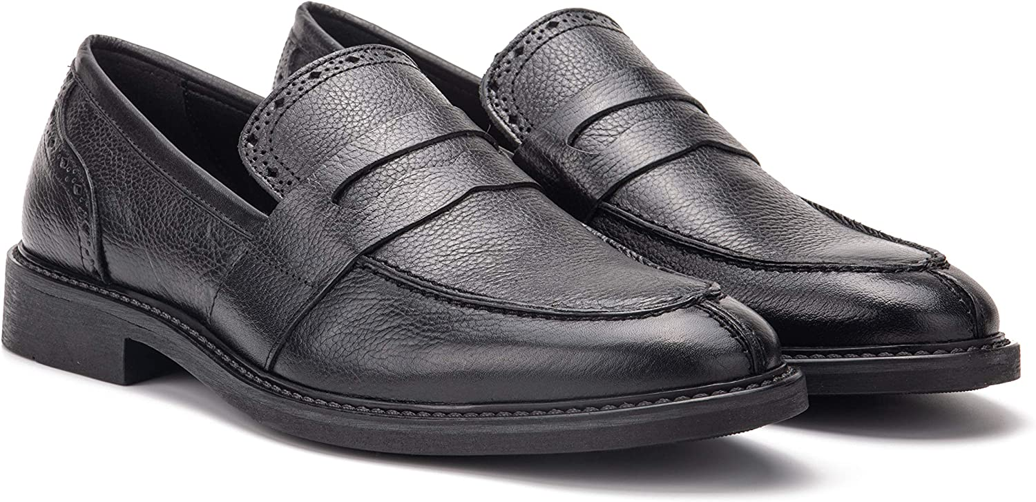 Vintage Foundry Co. Ira Men's Fashion Formal Leather Penny Loafer Shoe, Apron Toe, Thermoplastic Rubber Outsole