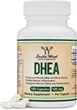 DHEA 100mg – 180 Capsules -Third Party Tested, Made in The USA (Max Strength, 6 Month..