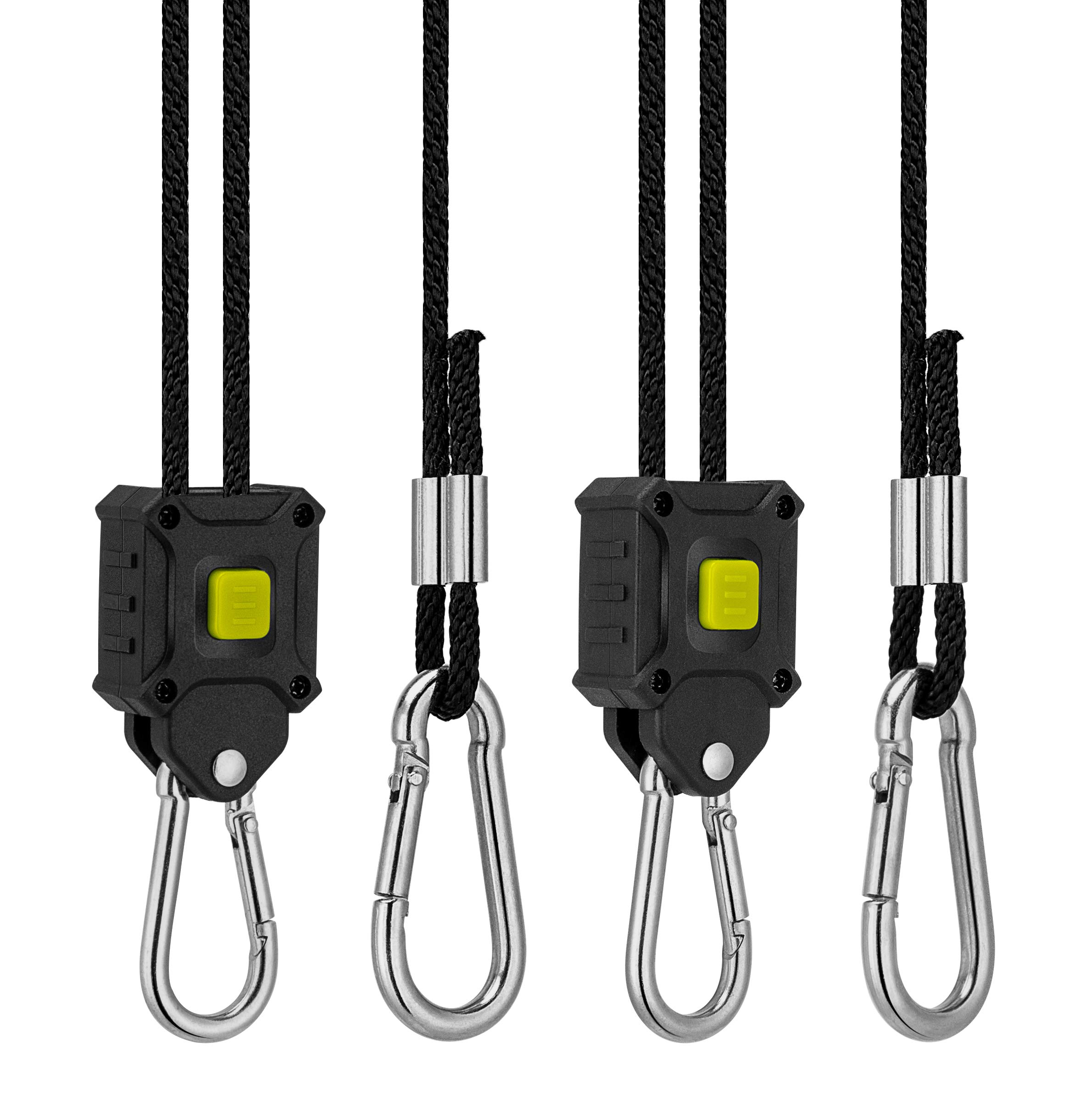 VIVOSUN 1-Pair 1/8 Inch Rope Hanger Improved Design, More Convenience - Press Button Easy Adjust, Reinforced Metal Internal Gears, 8-ft Long and 150lbs Weight Capacity