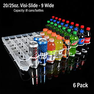 Display Technologies, LLC 20oz. Visi-Slide 9 Wide Beverage Shelf Glide - 6 Pack