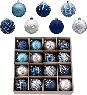 Valery Madelyn 16ct 80mm Winter Wishes Silver Blue Shatterproof Christmas Ball Ornaments Decoration for Christmas Tree