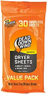 Dead Down Wind Dryer Sheets | Odor Eliminator for Hunting Gear + Hunting Accessories | Anti-Static, Biodegradable Unscente...