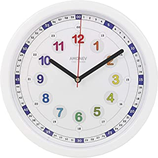 Amonev Time Teacher Clock Children Silent Wall Clock, Easy to Read Clock with Non Ticking Movement. Teach Children How to Read an Analogue Clock (Multicolor 24hr)