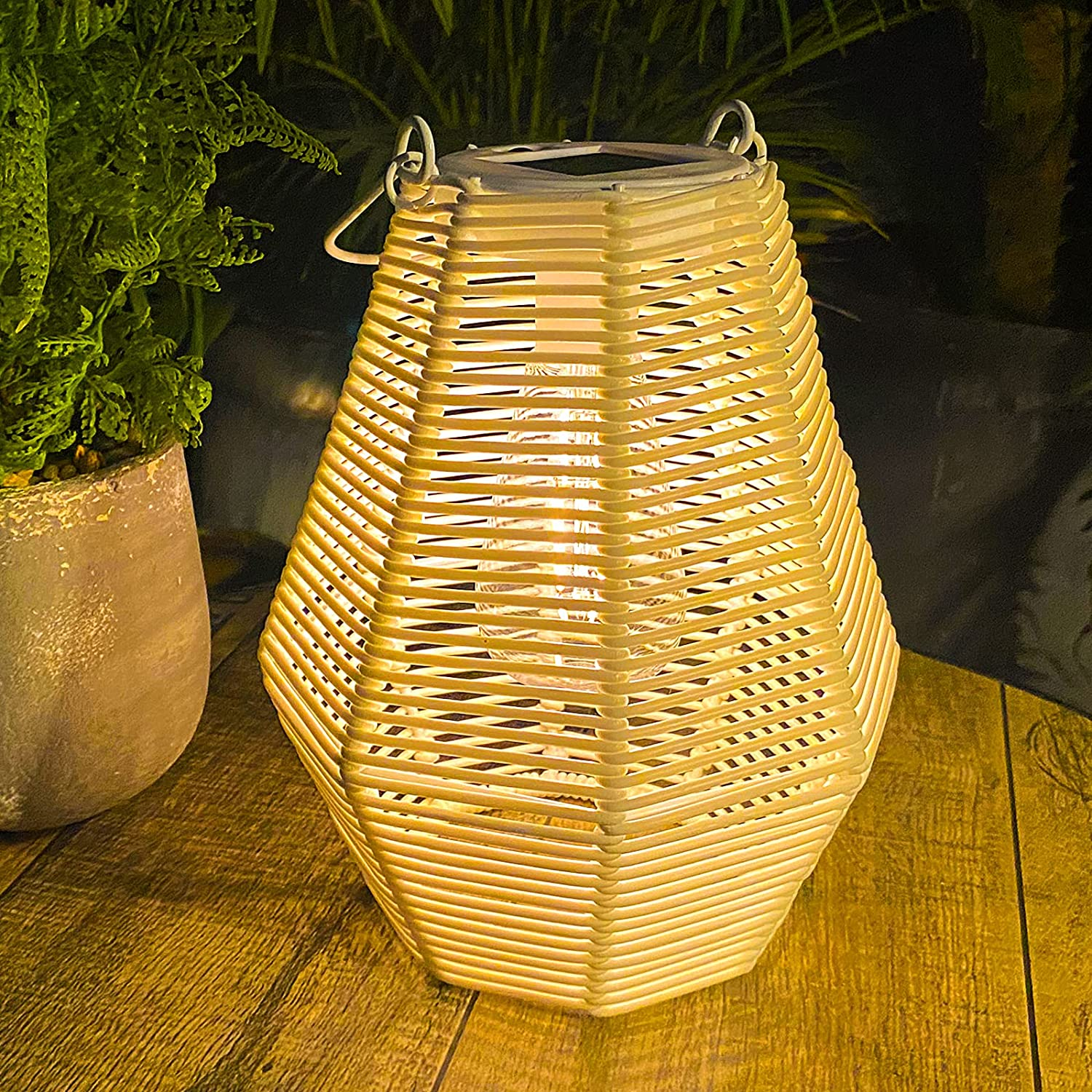 Solar Lantern Be super welcome Outdoor Rattan Light Hanging Lam Table Max 79% OFF
