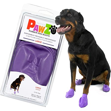 PawZ Dog Boots | Rubber Dog Booties | Waterproof Snow Boots for Dogs | Paw Protection for Dogs | 12 Dog Shoes per Pack (Colored)