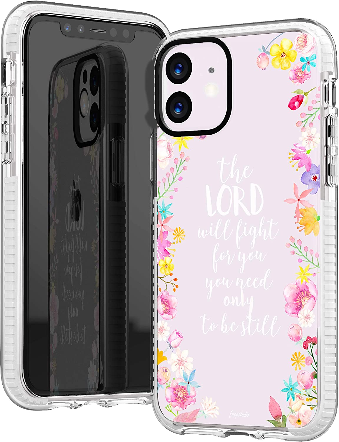 iPhone 11 Case,Cute Pink Floral Flowers Rose Daisy Bible Verses Girls Women Power Quote Christ Christian Inspirational Exodus 14:14 Trendy Soft Protective Clear Design Case Compatible for iPhone 11