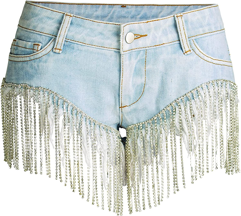 Women's Denim Shorts Fashion Sexy Low Waist Fringed Streetwear Butt Lifting