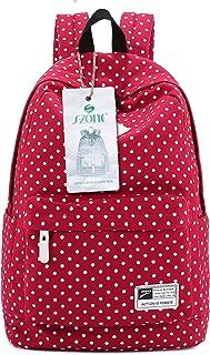 S-ZONE Canvas Rucksack Haltbare Leichte Schultasche 14-15 Inch Laptoptasche Schulrucksack Daypack Schule Uni Freizeit Ourdoor Reise für Mädchen Teenager Jugend