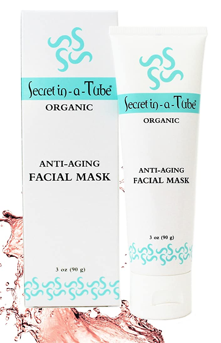 Secret in-a-Tube Organic Anti-Aging Facial Mask- Anti-Acne, Clay & Botanical Detox Mask- Reduces Pores, Wrinkles, Acne Scars- Hyaluronic Acid, Aloe, Jojoba, Red Algae, Neem, Daisy, Moringa hatb610619751253