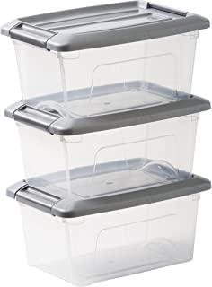 Amazon Basics 103425 Lot de 3 boîtes de Rangement empilables-New Top Box NTB-5, Plastique, Transparent/Gris, 5 L