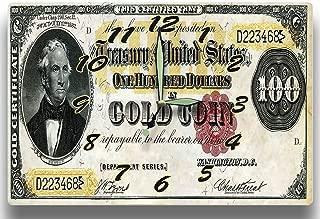 Customized Thomas Hart Benton Money Clock US Treasury Department Series 1882 100 Dollar Bill Gold Coin Certificate 8 x 12 inch Wall Clock Old Bullion